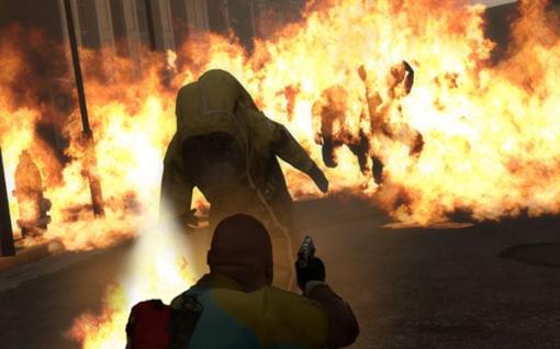 """Infectado com roupa a prova de fogo. Esse seria um dos """"infectados comuns especiais""""."""